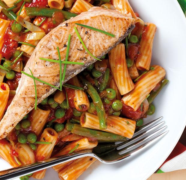 Salmon vegetable pasta