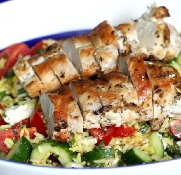 Greek grilled chicken and rice salad