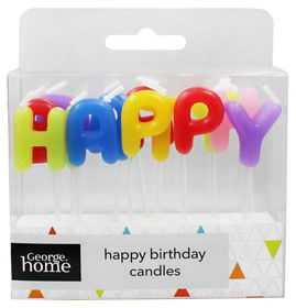 George Home Multi Coloured Happy Birthday Candles