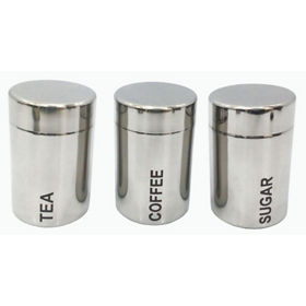 George Home Silver Toned Tea Coffee Sugar Canister Set Asda Groceries
