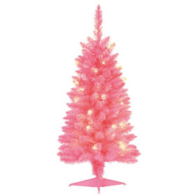 size 40 85ade b3a6f 3ft Pink Pre-Lit Christmas Tree