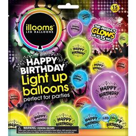 Illooms Happy Birthday Mixed Colour LED Light Up Balloons