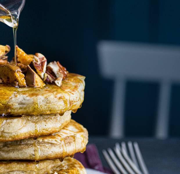 Salted caramel and maple pancake stack