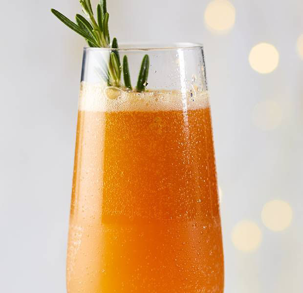 Crabbie's ginger beer, blood orange and rosemary mimosa