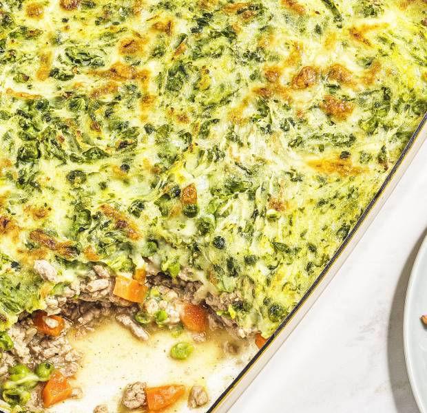 Turkey cottage pie with pea mash