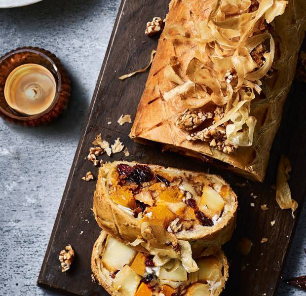 Vegan maple and butternut squash roulade