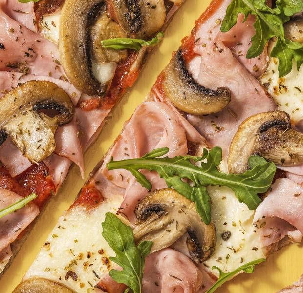 Beat the Budget's Ham & mushroom tortilla pizza