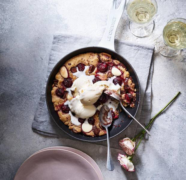 Chocolate and cherry cookie dough skillet bake
