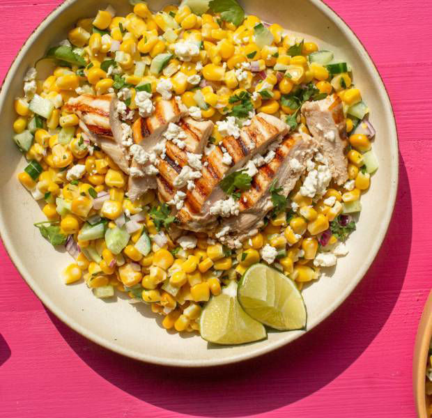 Mexican elote-inspired chicken & sweetcorn salad