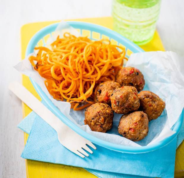 Annabel Karmel's mini beef and vegetable meatballs with sweet potato curls