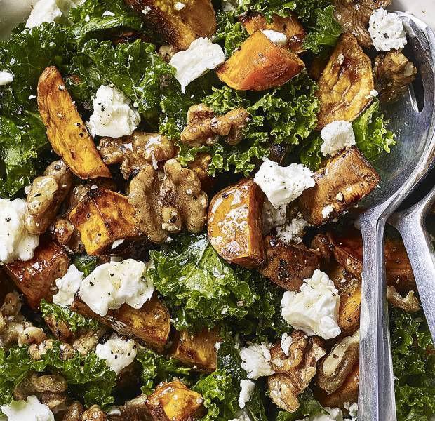 Beat the Budget's roasted sweet potato, feta, kale and walnut salad