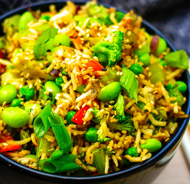 Asian-inspired chicken and rice stir-fry