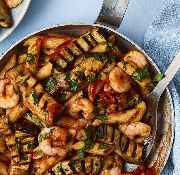 Prawn arrabiata pasta with charred aubergine