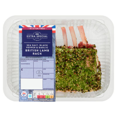 ASDA > Fresh Food > ASDA Extra Special British Lamb Rack Sea Salt, Black Pepper & Garlic (typically 650g)