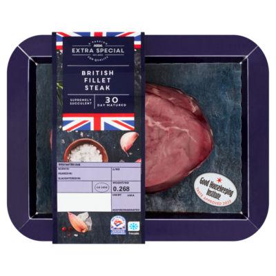 ASDA Extra Special Fillet Steak 30 Day Matured (Typically 212g)