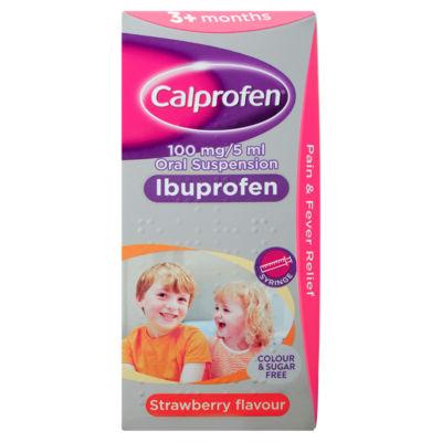 Calprofen Oral Ibuprofen Suspension 3+ Months Strawberry Flavour