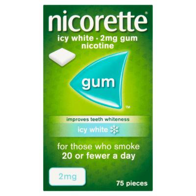 Nicorette 2mg Gum Nicotine Icy White 75 Pieces