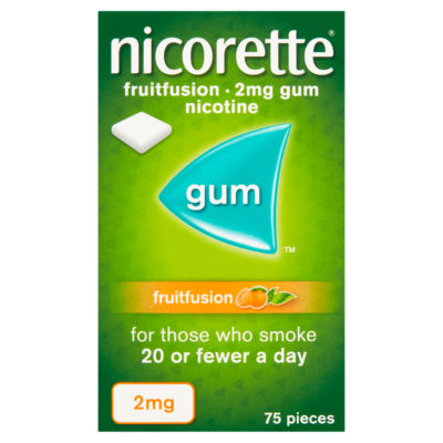 Nicorette 2mg Gum Nicotine Fruitfusion 75 Pieces