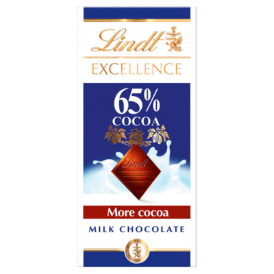 Lindt Excellence Milk 65% Cocoa Chocolate Bar