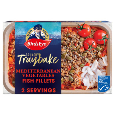 Birds Eye Crunchy Traybake Mediterranean Vegetables with Grains & Seeded Crumb Fish Fillets