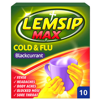 Lemsip Max Cold & Flu Blackcurrant Sachets