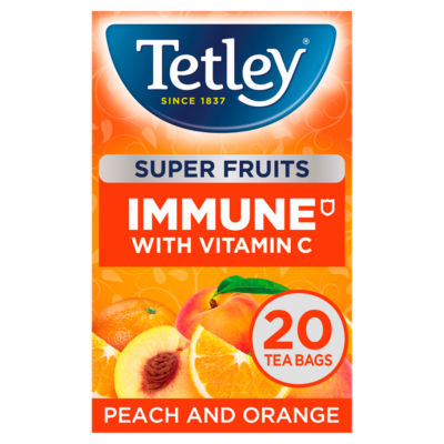 Tetley Super Fruits Immune Peach & Orange 20 Tea Bags