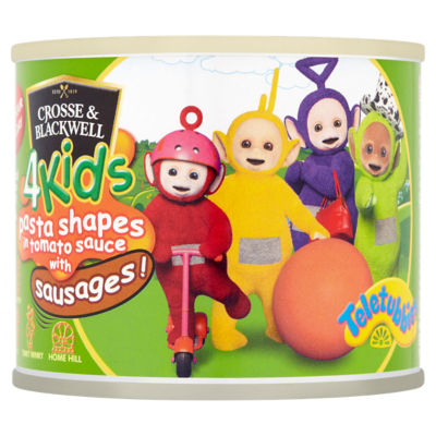 Crosse & Blackwell 4 Kids Teletubbies Pasta Shapes in Tomato Sauce with Sausages
