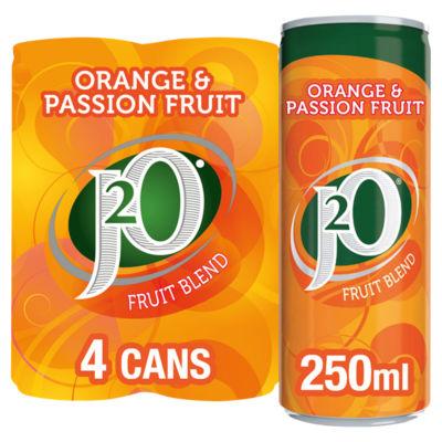 J2O Orange & Passion Fruit Juice Drink Cans