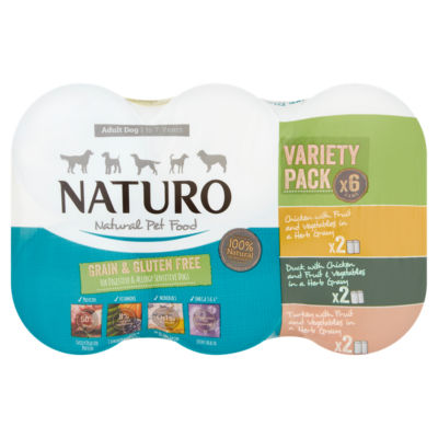 Naturo Grain & Gluten Free Mixed Selection in Gravy Adult Dog Food Tins