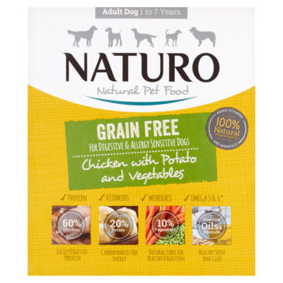 Naturo Grain Free Chicken & Potato with Vegetables Adult Dog Food Tray