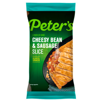 Peter's Premier Cheesy Bean & Sausage Slice