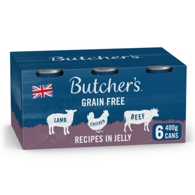Butcher's Recipes in Jelly Grain Free Adult Dog Food Tins