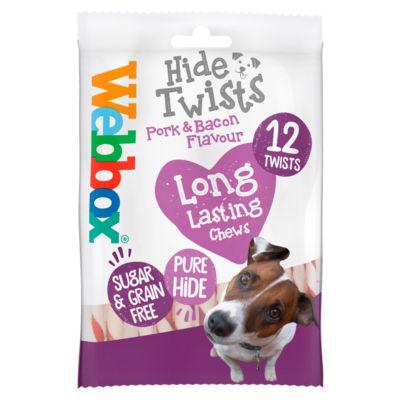 Webbox Porky Hide Premium Beef & Sizzling Bacon Twists Dog Treats 12 Pack