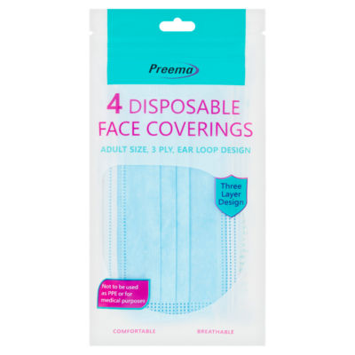 Preema 4 Disposable Adult Size Face Covering