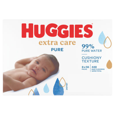 Huggies Pure 'Extra Care' Baby Wipes Wicker Basket 8 Packs