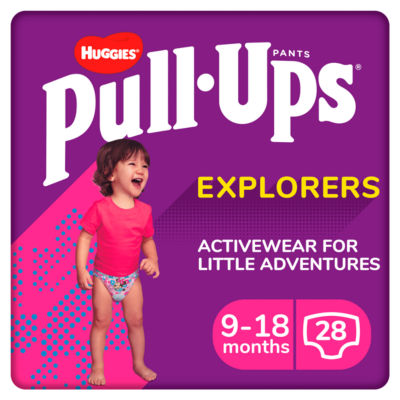 Huggies Pull-Ups Explorers, Girl, Size 9-18 Months, Nappy Size 3-4