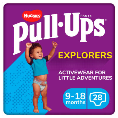 Huggies Pull-Ups Explorers, Boy, Size 9-18 Months, Nappy Size 3-4