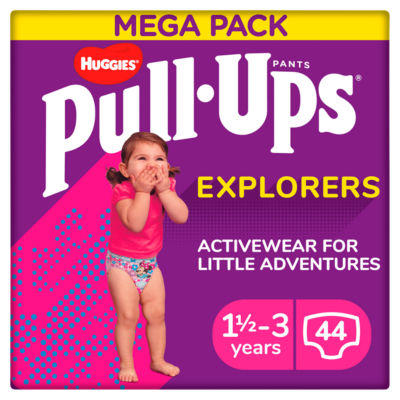 Huggies Pull-Ups Explorers, Girl, Size 1.5-3 Years, Nappy Size 4-5+