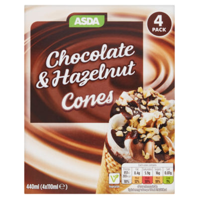 ASDA 4 Chocolate & Hazelnut Ice Cream Cones