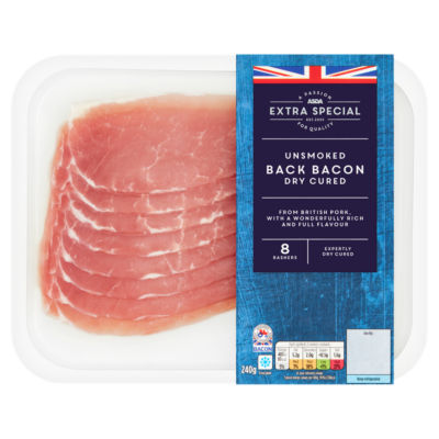 ASDA Extra Special Unsmoked Back Bacon Dry Cured 8 Rashers