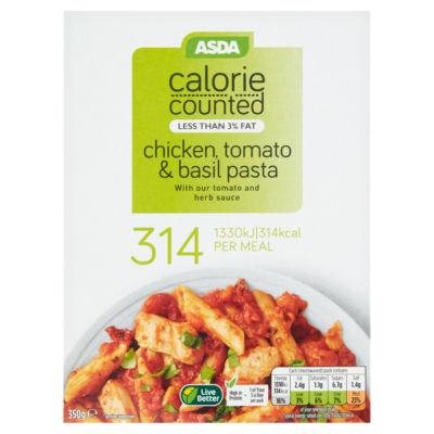 ASDA Good & Counted Chicken Tomato & Basil Pasta