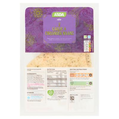 ASDA 2 Garlic & Coriander Naans
