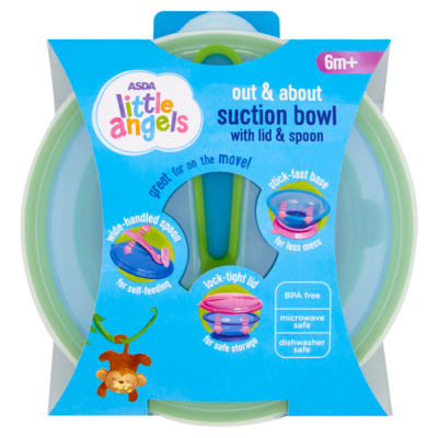 ASDA Little Angels Out & About Suction Bowl with Lid and Spoon 6m+