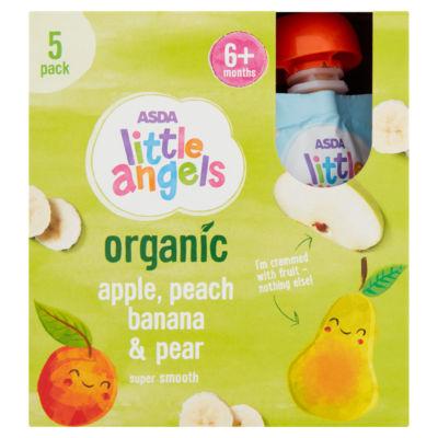 ASDA Little Angels Organic Yummy Fruit Apple, Banana, Peach & Pear 6+ Months