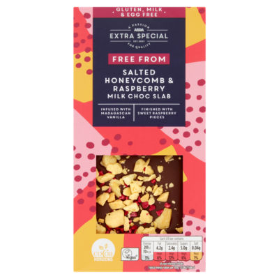 ASDA Extra Special Free From Salted Honeycomb & Raspberry Milk Choc Bar