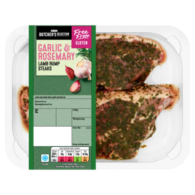 ASDA Butcher's Selection 2 Lamb Rump Steaks with Garlic & Rosemary Rub