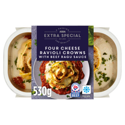 ASDA Extra Special Four Cheese Ravioli Crowns with Beef Ragu Sauce