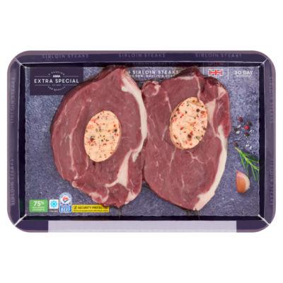 ASDA Extra Special British Sirloin Steaks with Pink Peppercorn, Garlic & Herb Butter
