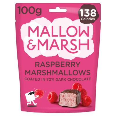Mallow & Marsh Raspberry Marshmallows Coated in 70% Dark Chocolate