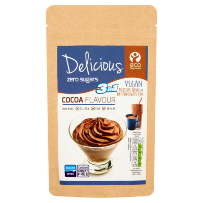 Eco Free From 3 in 1 Vegan Dessert, Shake & Hot Chocolate Mix Cocoa Flavour